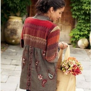 Soft Surroundings Izmir Wool Embroidered Jacket L